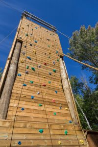 One of three sides to the climbing tower